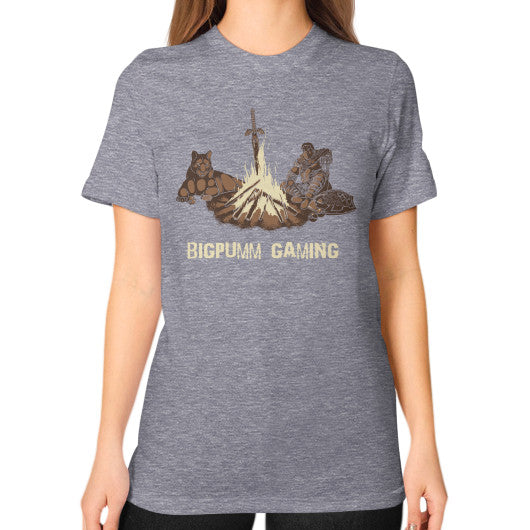 1 Year Anniversary! BIGPUMM GAMING  Unisex T-Shirt (on woman) Tri-Blend Grey Zacaca Shop USA