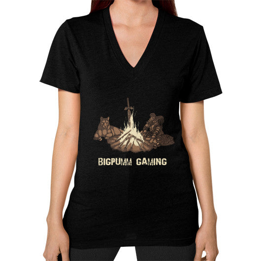 1 Year Anniversary! BIGPUMM GAMING  V-Neck (on woman) Black Zacaca Shop USA