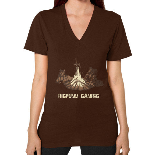 1 Year Anniversary! BIGPUMM GAMING  V-Neck (on woman) Brown Zacaca Shop USA