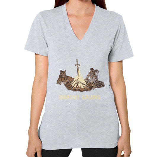 1 Year Anniversary! BIGPUMM GAMING  V-Neck (on woman) Heather grey Zacaca Shop USA