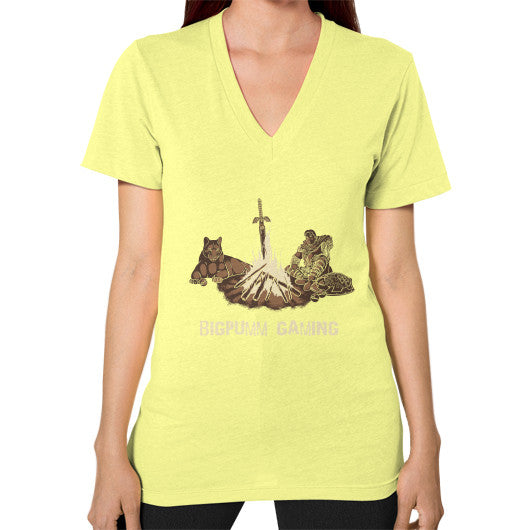 1 Year Anniversary! BIGPUMM GAMING  V-Neck (on woman) Lemon Zacaca Shop USA