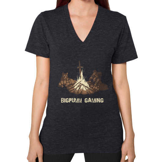 1 Year Anniversary! BIGPUMM GAMING  V-Neck (on woman) Tri-Blend Black Zacaca Shop USA