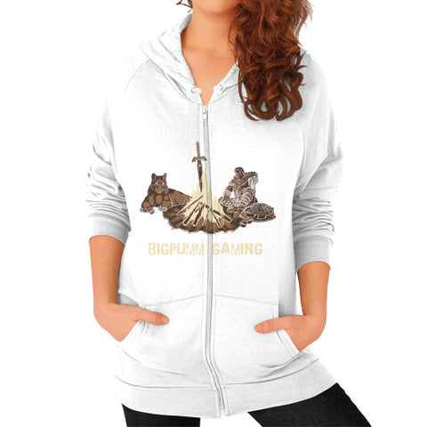 1 Year Anniversary! BIGPUMM GAMING  Zip Hoodie (on woman) White Zacaca Shop USA