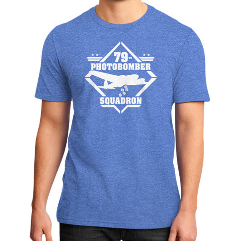 79th Photobomber Squadron 2 District T-Shirt (on man) Heather blue Zacaca Shop USA
