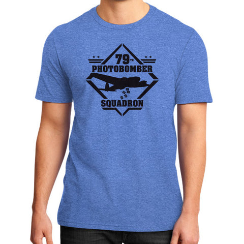79th Photobomber- Squadron District T-Shirt (on man) Heather blue Zacaca Shop USA