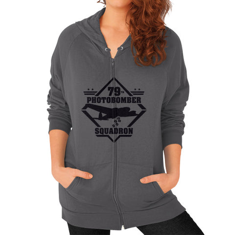 79th Photobomber- Squadron Zip Hoodie (on woman) Shirt Asphalt Zacaca Shop USA