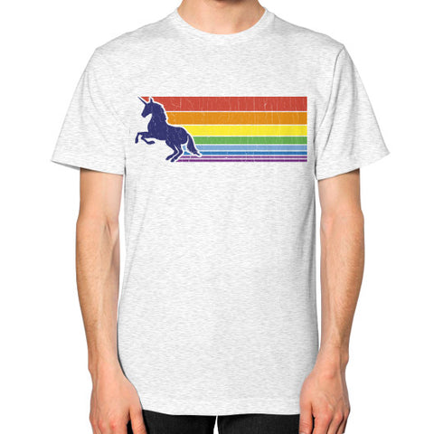 '80s Vintage Unicorn Rainbow (distressed look) Unisex T-Shirt (on man) Ash grey Zacaca Shop USA