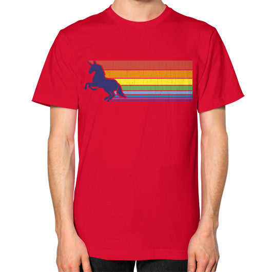 '80s Vintage Unicorn Rainbow (distressed look) Unisex T-Shirt (on man) Red Zacaca Shop USA