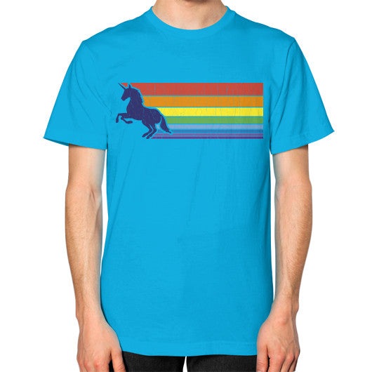 '80s Vintage Unicorn Rainbow (distressed look) Unisex T-Shirt (on man) Teal Zacaca Shop USA