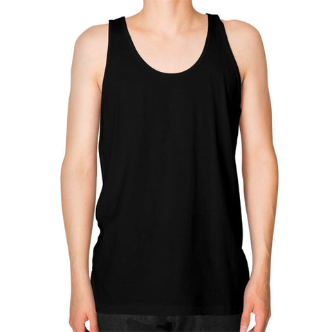A Vintage Friend Unisex Fine Jersey Tank (on man) Shirt Black Zacaca Shop USA