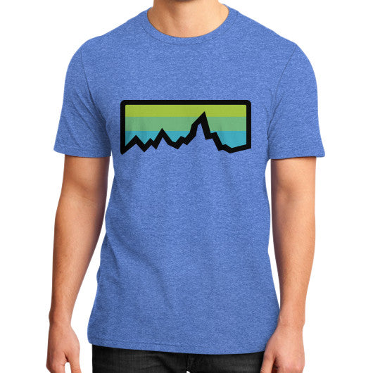 Abstract Mountain Light Invert District T-Shirt (on man) Heather blue Zacaca Shop USA
