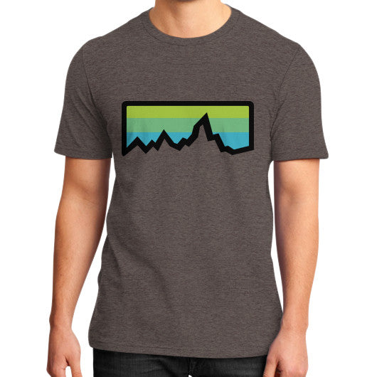 Abstract Mountain Light Invert District T-Shirt (on man) Heather brown Zacaca Shop USA