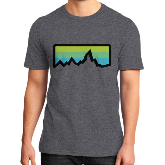 Abstract Mountain Light Invert District T-Shirt (on man) Heather charcoal Zacaca Shop USA