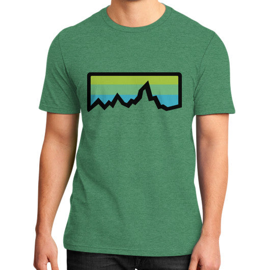 Abstract Mountain Light Invert District T-Shirt (on man) Heather green Zacaca Shop USA