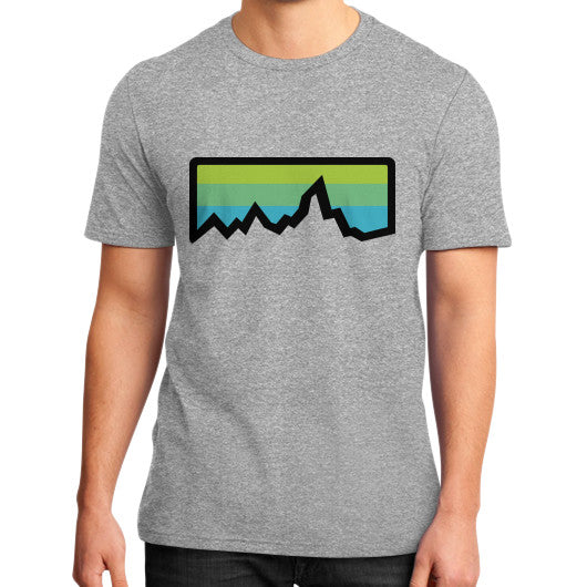 Abstract Mountain Light Invert District T-Shirt (on man) Heather grey Zacaca Shop USA