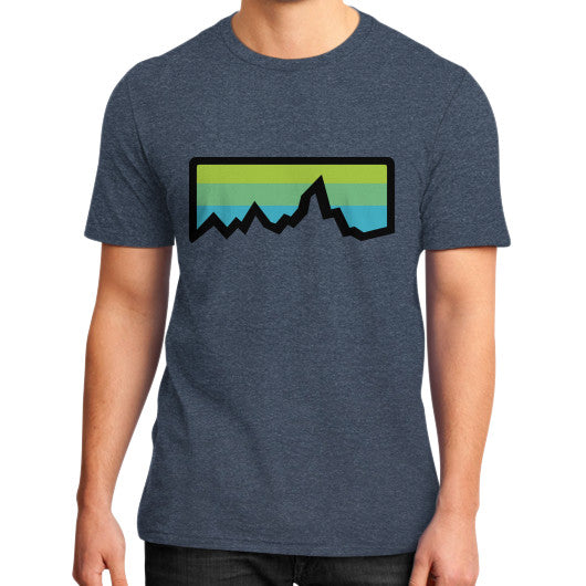 Abstract Mountain Light Invert District T-Shirt (on man) Heather navy Zacaca Shop USA