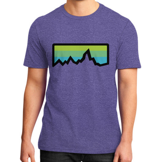 Abstract Mountain Light Invert District T-Shirt (on man) Heather purple Zacaca Shop USA
