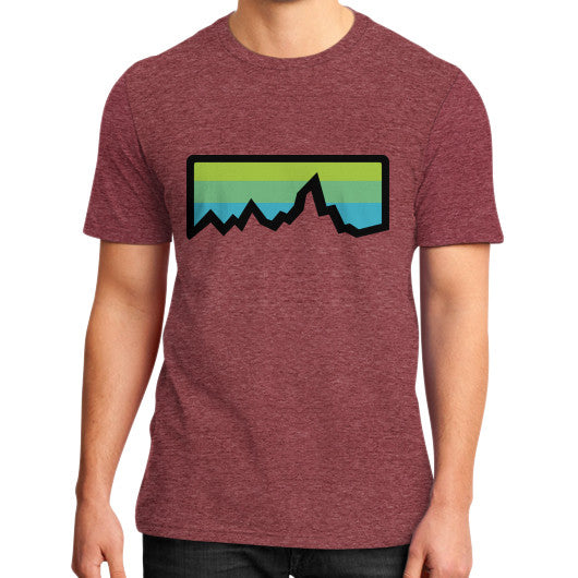 Abstract Mountain Light Invert District T-Shirt (on man) Heather red Zacaca Shop USA