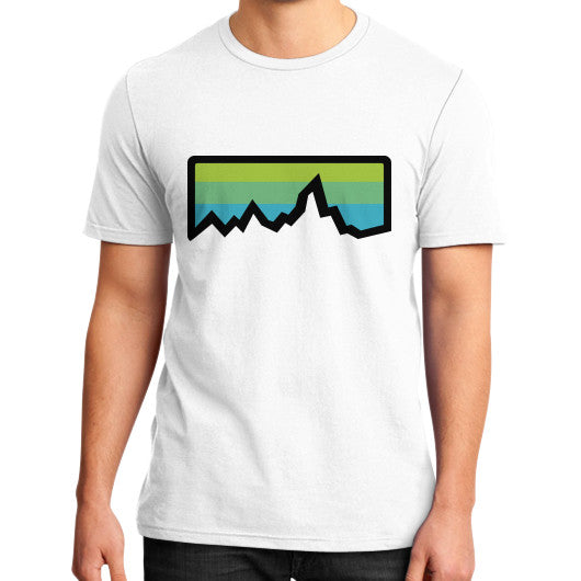 Abstract Mountain Light Invert District T-Shirt (on man) White Zacaca Shop USA