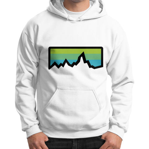 Abstract Mountain Light Invert Gildan Hoodie (on man) Shirt White Zacaca Shop USA