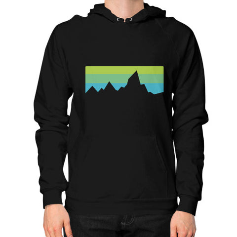 Abstract Mountain Light Invert Hoodie (on man) Shirt Black Zacaca Shop USA