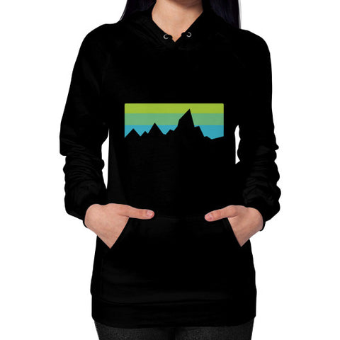Abstract Mountain Light Invert Hoodie (on woman) Shirt Black Zacaca Shop USA