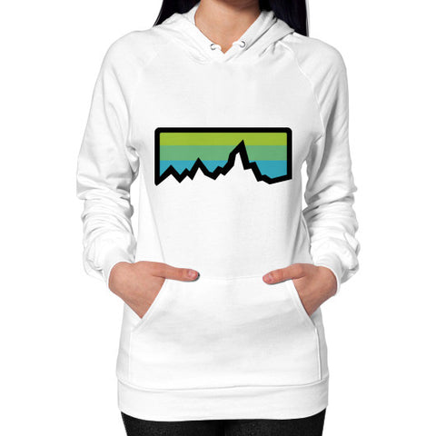 Abstract Mountain Light Invert Hoodie (on woman) Shirt White Zacaca Shop USA