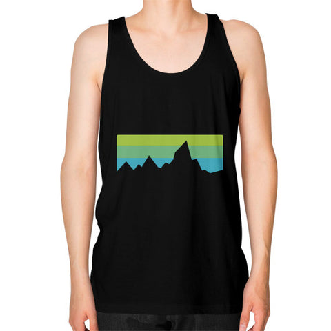 Abstract Mountain Light Invert Unisex Fine Jersey Tank (on man) Shirt Black Zacaca Shop USA