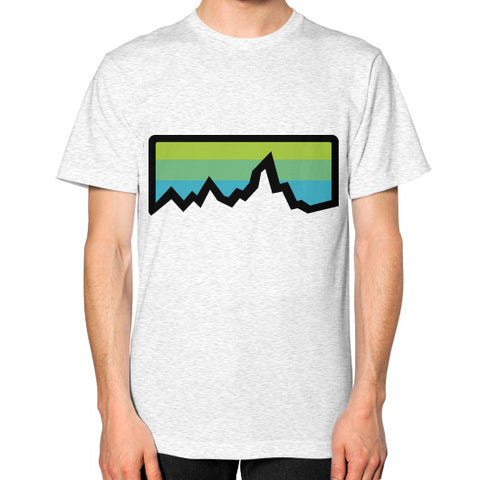 Abstract Mountain Light Invert Unisex T-Shirt (on man) Ash grey Zacaca Shop USA