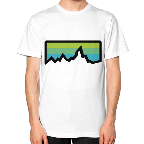 Abstract Mountain Light Invert Unisex T-Shirt (on man) White Zacaca Shop USA