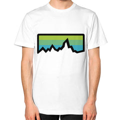 Abstract Mountain Light Invert Unisex T-Shirt (on man)