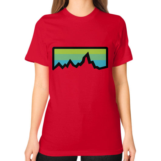 Abstract Mountain Light Invert Unisex T-Shirt (on woman) Red Zacaca Shop USA