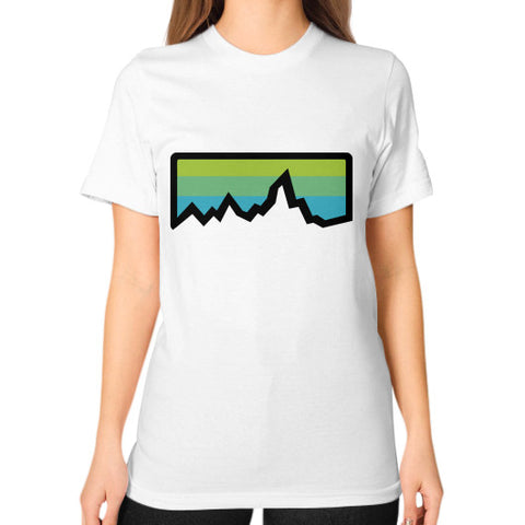 Abstract Mountain Light Invert Unisex T-Shirt (on woman) White Zacaca Shop USA