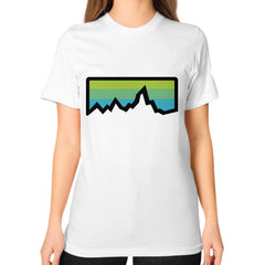 Abstract Mountain Light Invert Unisex T-Shirt (on woman)
