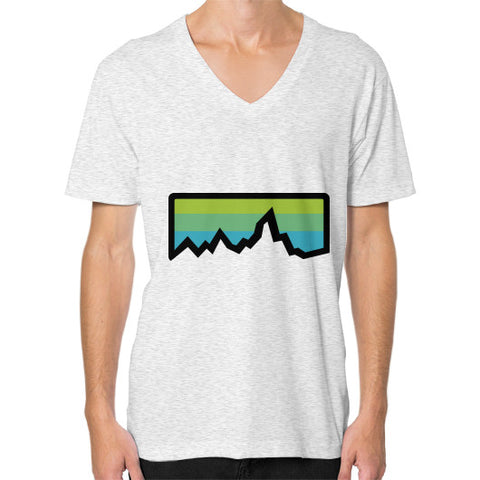 Abstract Mountain Light Invert V-Neck (on man) Shirt Ash grey Zacaca Shop USA