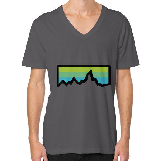 Abstract Mountain Light Invert V-Neck (on man) Shirt Asphalt Zacaca Shop USA