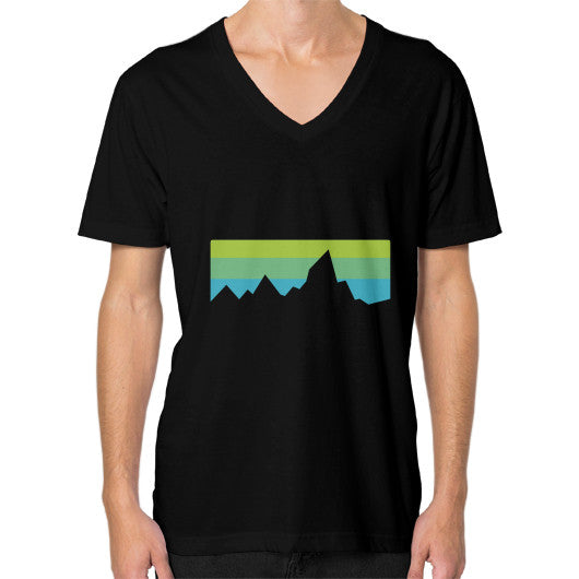 Abstract Mountain Light Invert V-Neck (on man) Shirt Black Zacaca Shop USA