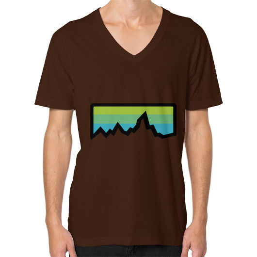Abstract Mountain Light Invert V-Neck (on man) Shirt Brown Zacaca Shop USA