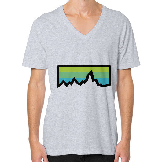Abstract Mountain Light Invert V-Neck (on man) Shirt Heather grey Zacaca Shop USA