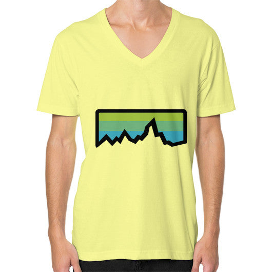 Abstract Mountain Light Invert V-Neck (on man) Shirt Lemon Zacaca Shop USA