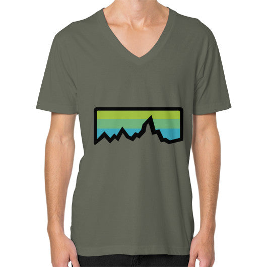 Abstract Mountain Light Invert V-Neck (on man) Shirt Lieutenant Zacaca Shop USA
