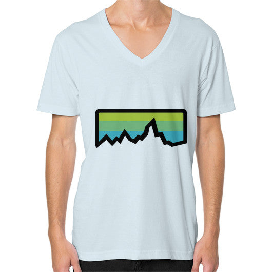 Abstract Mountain Light Invert V-Neck (on man) Shirt Light blue Zacaca Shop USA