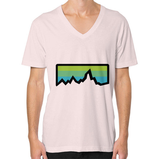Abstract Mountain Light Invert V-Neck (on man) Shirt Light pink Zacaca Shop USA