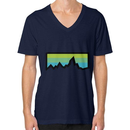 Abstract Mountain Light Invert V-Neck (on man) Shirt Navy Zacaca Shop USA