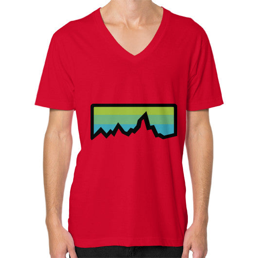 Abstract Mountain Light Invert V-Neck (on man) Shirt Red Zacaca Shop USA