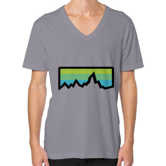 Abstract Mountain Light Invert V-Neck (on man) Shirt Slate Zacaca Shop USA