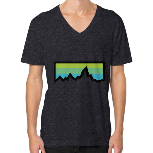 Abstract Mountain Light Invert V-Neck (on man) Shirt Tri-Blend Black Zacaca Shop USA