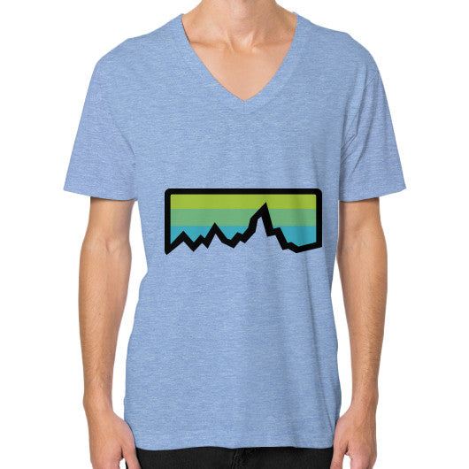 Abstract Mountain Light Invert V-Neck (on man) Shirt Tri-Blend Blue Zacaca Shop USA