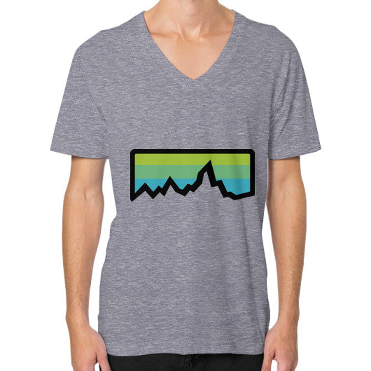 Abstract Mountain Light Invert V-Neck (on man) Shirt Tri-Blend Grey Zacaca Shop USA