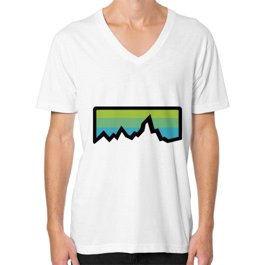 Abstract Mountain Light Invert V-Neck (on man) Shirt White Zacaca Shop USA
